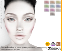 Zibska ~ Silvan Blush in 10 colors with omega applier, tattoo and universal tattoo BOM layers