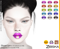 Zibska ~ Shura Lips in 15 colors with Omega appliers, tattoo and universal tattoo BOM layers