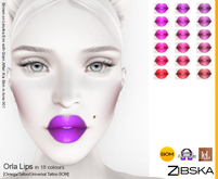 Zibska ~ Orla Lips in 18 colors with Omega appliers, tattoo and universal tattoo BOM layers