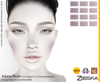 Zibska ~ Adona Blush in 4 colors in 3 transparencies with omega applier, tattoo and universal tattoo BOM layers