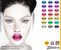 Zibska ~ Adva Lips in 21 colors in 3 fits with Omega appliers, tattoo and universal tattoo BOM layers