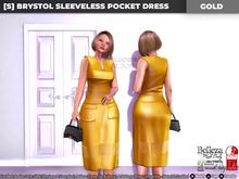 [S] Brystol Sleeveless Pocket Dress Gold