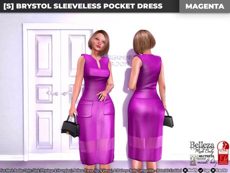 [S] Brystol Sleeveless Pocket Dress Magenta