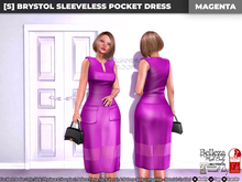[S] Brystol Sleeveless Pocket Dress Magenta