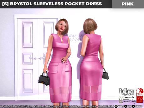 [S] Brystol Sleeveless Pocket Dress Pink