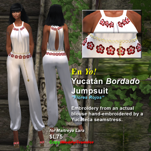 En Yo! Yucatan Bordado Jumpsuit Flores Rojos for Maitreya Lara