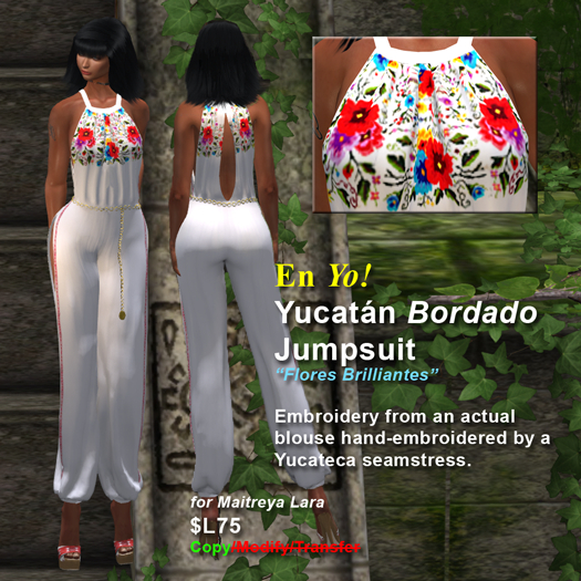 En Yo! Yucatan Bordado Jumpsuit Flores Brillantes for Maitreya Lara