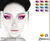 Zibska ~ Messier Eyemakeup in 12 colors with Omega appliers, tattoo and universal tattoo BOM layers