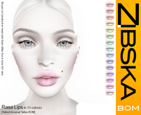 Zibska BOM Pack ~ Rasa Lips in 15 colors with tattoo and universal tattoo BOM layers