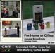 Animated Ceramic Coffee Cups Set & Coffee Maker