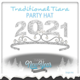 2021 v2 Happy New Year SILVER Tiara Resizeable (BOXED)