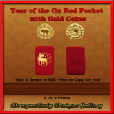 Year of the Ox Red Pocket with Gold Coins