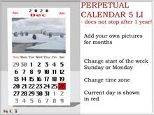 Calendar Wall Scripted Mesh perpetual 2021 2022 2023,copyable