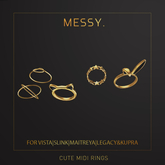 Messy. Cute Midi Rings Gold