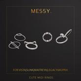 Messy. Cute Midi Rings Silver