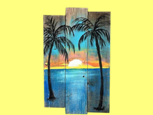 ALPHA Beach Decor Wall Art Nautical PALMS & SUNSET Painted Wood! TROPICAL PLAQUE SIGN! Image Both Sides! COPY/MODIFY!