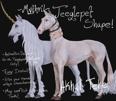 ~Mythril~ Teeglepet Shape: Akhal Teke (TPet Unicorn ONLY)