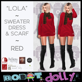 RD - Lola - Sweater Dress and Scarf - Red