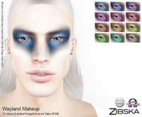 Zibska ~ Wayland Makeup in 12 colors with Lelutka, Omega and Universal Tattoo BOM layers