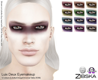 Zibska ~ Luix Deux Eyemakeup in 12 colors with Lelutka, Omega and Universal Tattoo BOM layers