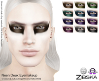 Zibska ~ Neen Deux Eyemakeup in 12 colors with Lelutka, Omega and Universal Tattoo BOM layers
