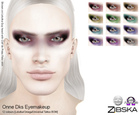 Zibska ~ Onne Dks Eyemakeup in 12 colors with Lelutka, Omega and Universal Tattoo BOM layers