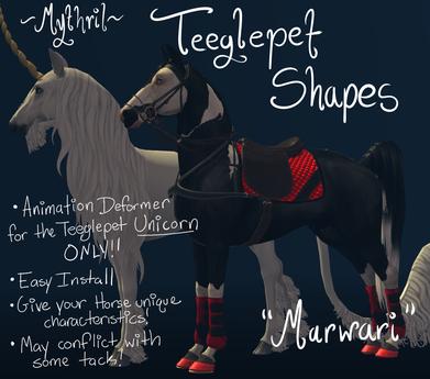 ~Mythril~ Teeglepet Shapes: Marwari (TPet Unicorn ONLY)