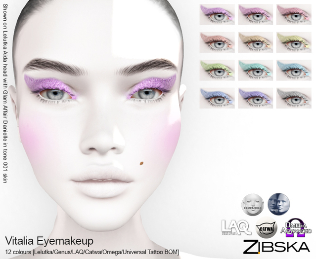 Zibska ~ Vitalia Eyemakeup in 12 colors with Lelutka, Genus, LAQ, Catwa and Omega appliers, universal tattoo BOM layers