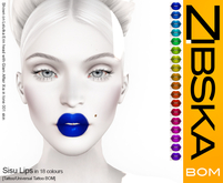 Zibska BOM Pack ~ Sisu Lips in 18 colors with tattoo and universal tattoo BOM layers