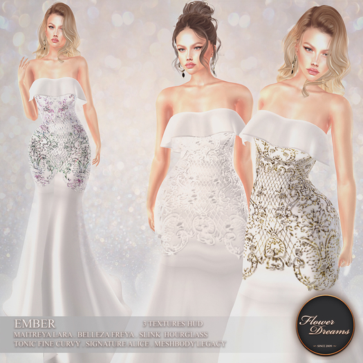 .:FlowerDreams:.Ember Gown - white Demo
