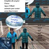 Complete ski gear giver Aqau & Black- BOX