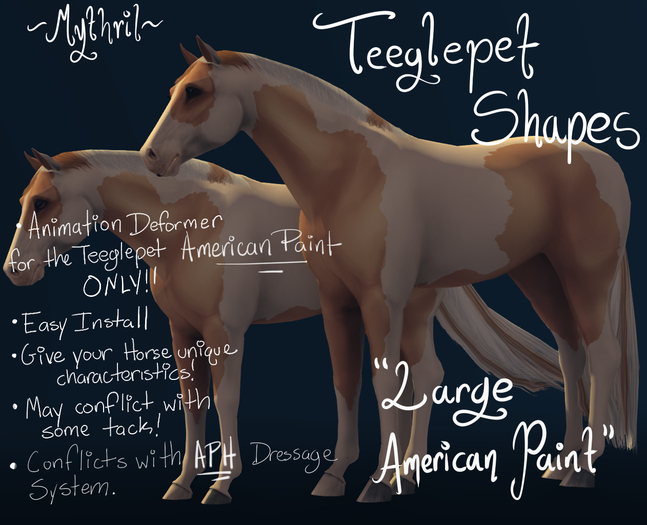 ~Mythril~ Teeglepet Shape: Large American Paint Mod (TPet APH ONLY)