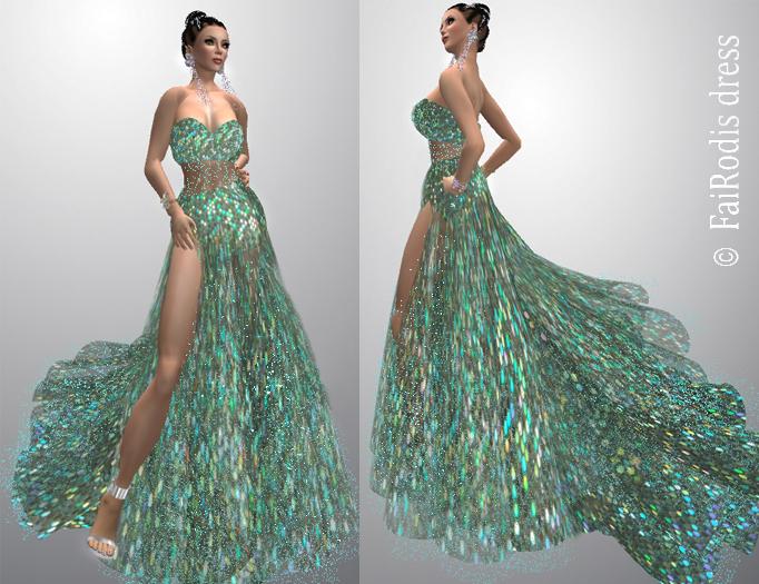 FaiRodis Night Aurora dress green 2 IN 1 pack