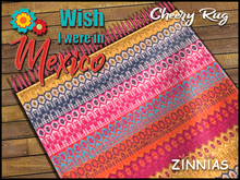 "*Zinnias ""Wish I were in Mexico"" Cheery Fringed Rug"