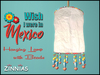 """*Zinnias """"Wish I were in Mexico"""" Hanging Lamp w/ Beads"""