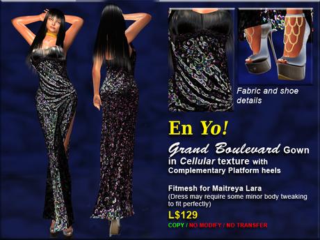 EnYo! Grand Boulevard Gown CELLULAR w/ Platform Heels for Maitreya