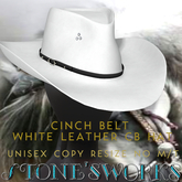 Cinch Belt White Leather CB Hat Stone's Works