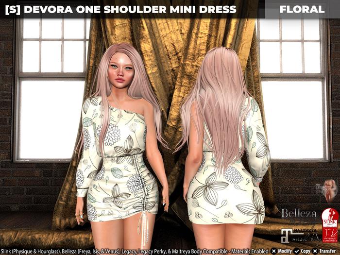 [S] Devora One Shoulder Mini Dress Floral