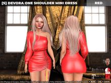 [S] Devora One Shoulder Mini Dress Red