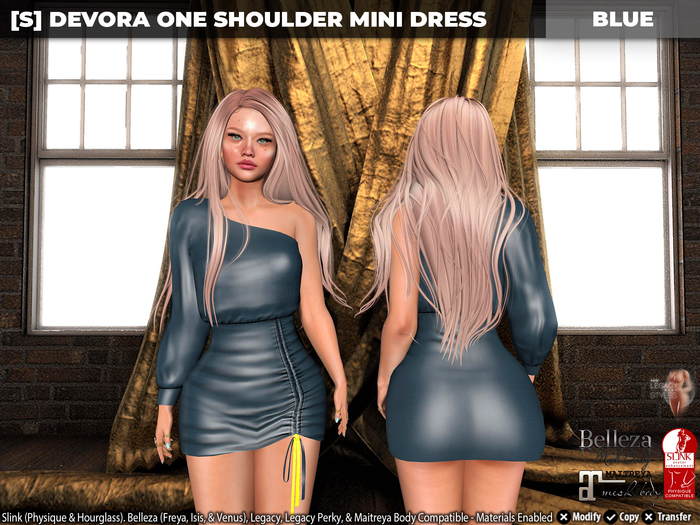 [S] Devora One Shoulder Mini Dress Blue