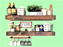 ALPHA KITCHEN 3D WALL DECAL: 2 SHELF YUM COFFEE CUP HANGER & PLAN! HOME DECOR! 1 Prim Copy/Mod! Ready to Hang! 2 Sides!T