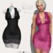 Glitter Martina Fitmesh Lace Dress Black