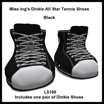 Miss Ing's Dinkie All Star Tennis Shoes Black