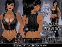 Immerschoen Girl - Leather Vest/Gilet 'Laced' (Black)