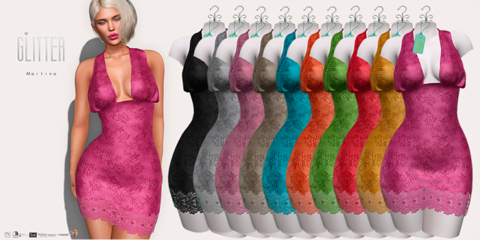 Glitter Martina Fitmesh Lace Dress FAT PACK
