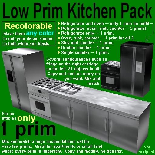Recolorable low-prim kitchen pack