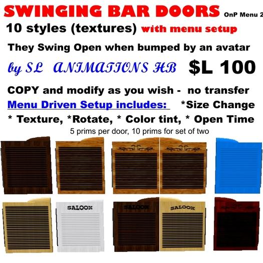 OnP Swinging bar doors