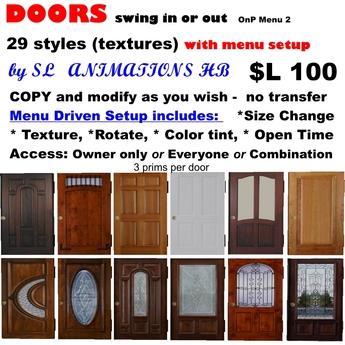 OnP doors regular swing open