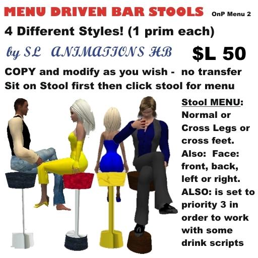 OnP bar stools menu driven