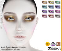 Zibska ~ Avril Eyemakeup in 12 colors with Omega appliers, tattoo and universal tattoo BOM layers